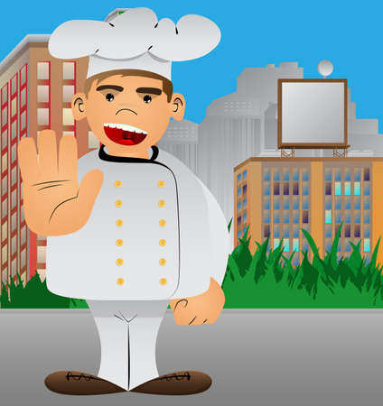Fat male cartoon chef in uniform showing deny or refuse hand gesture. Vector illustration. Illustration