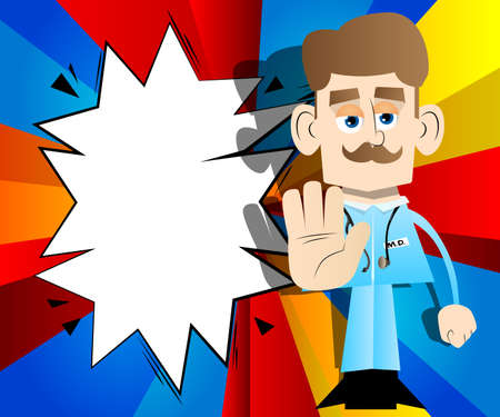 Funny cartoon doctor showing deny or refuse hand gesture. Vector illustration.
