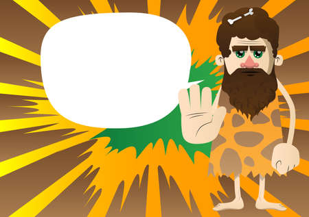 Cartoon caveman showing deny or refuse hand gesture. Vector illustration of a man from the stone age.