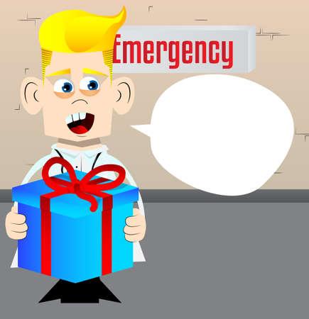 Funny cartoon doctor holding big gift box. Vector illustration. Medical holiday card.