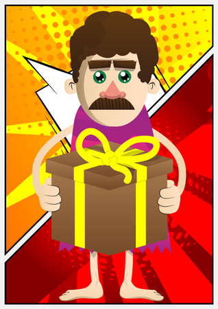 Cartoon caveman holding big gift box. Vector illustration of a man from the stone age.