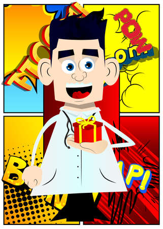 Funny cartoon doctor holding small gift box. Vector illustration. Çizim