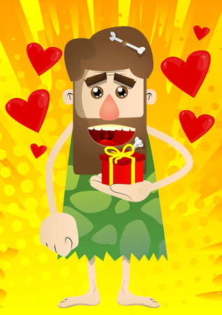 Cartoon caveman holding small gift box. Vector illustration of a man from the stone age.