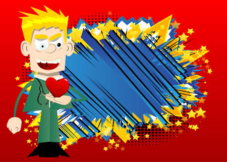 Funny cartoon doctor holding red heart in his hand. Vector illustration about health or love.