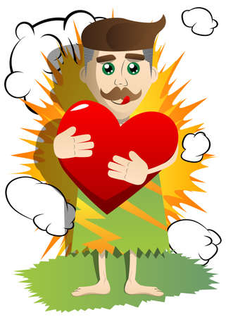Cartoon man from prehistoric era hugging big red heart. Vector illustration of a funny looking man from the stone age.