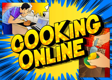 Comic book style poster for online cooking video blog. Man tasting soup from the pan while standing in the kitchen. Watching a cooking courses online.