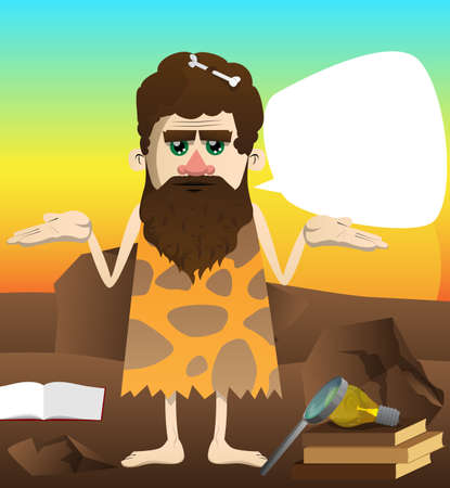 Cartoon man from a prehistoric era shrugs shoulders expressing don't know gesture. Vector illustration of a man from the stone age.