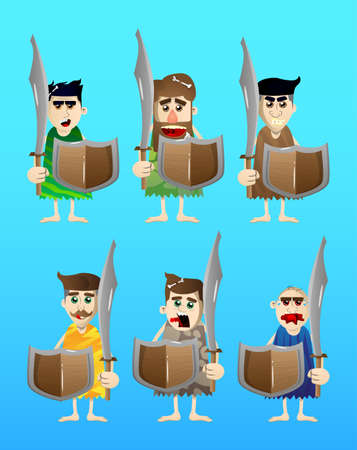 Cartoon man from prehistoric era holding a sword and shield. Vector illustration of a man from the stone age.  イラスト・ベクター素材