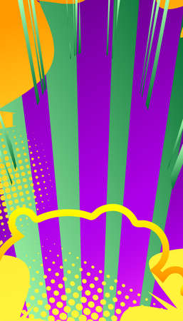 Comic book background with mostly green and purple zoom effect. Vector illustration.