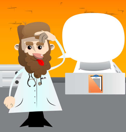 Funny cartoon doctor confused. Vector illustration. Health care worker scraping his head.