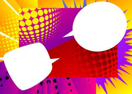 Blank Speech bubbles. Cartoon design colored background. Comic book illustration. Vector comics backdrop for poster. Social media post design template.