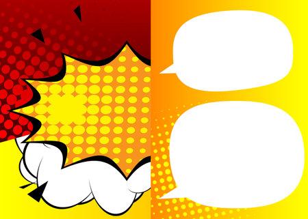 Blank Speech bubbles. Cartoon design colored background. Comic book illustration. Vector comics backdrop for poster. Social media post design template. 免版税图像 - 161730438