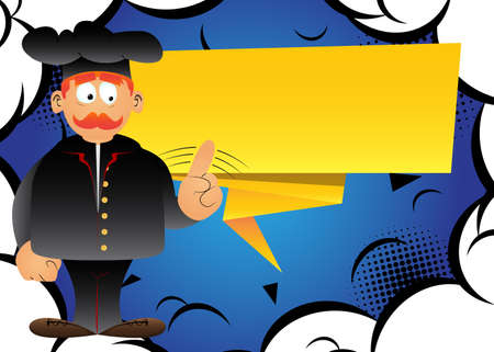 Fat male cartoon chef in uniform saying no with his finger. Vector illustration. 免版税图像 - 161730441