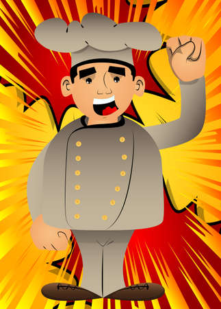 Fat male cartoon chef in uniform making power to the people fist gesture. Vector illustration. 免版税图像 - 161730443