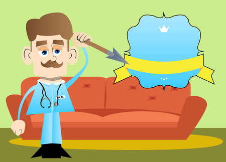 Funny cartoon doctor holding spear in his hand. Vector illustration. Health care worker as a warrior.