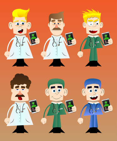 Funny cartoon doctor holding a cell phone in his hand. Vector illustration.