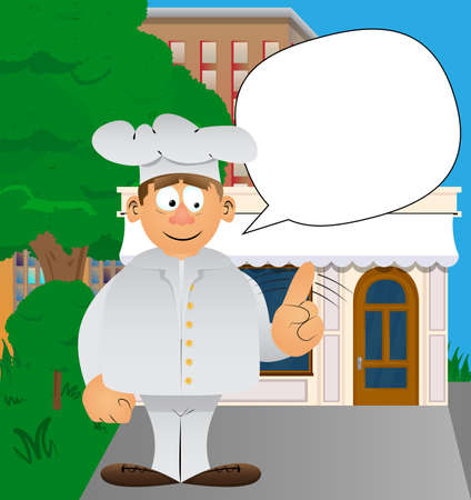 Fat male cartoon chef in uniform saying no with his finger. Vector illustration. 免版税图像 - 161730724