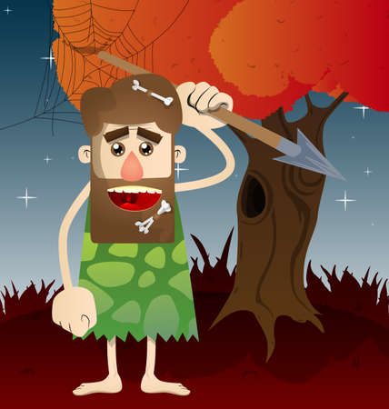 Cartoon caveman holding spear in his hand. Vector illustration of a man from the stone age.