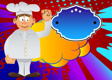 Fat male cartoon chef in uniform making power to the people fist gesture. Vector illustration.