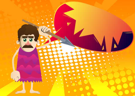 Cartoon caveman holding spear in his hand. Vector illustration of a man from the stone age. 免版税图像 - 161730736