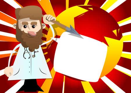 Funny cartoon doctor holding spear in his hand. Vector illustration. Health care worker as a warrior. 免版税图像 - 161730739