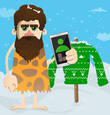 Cartoon man from prehistoric era holding a cell phone in his hand. Vector illustration of a man from the stone age. 免版税图像 - 161730742