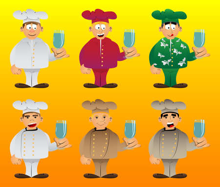 Fat male cartoon chef in uniform with a glass of water. Vector illustration. Иллюстрация