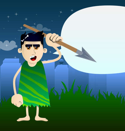 Cartoon caveman holding spear in his hand. Vector illustration of a man from the stone age. 免版税图像 - 161730644