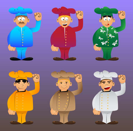 Fat male cartoon chef in uniform making power to the people fist gesture. Vector illustration. 免版税图像 - 161730645