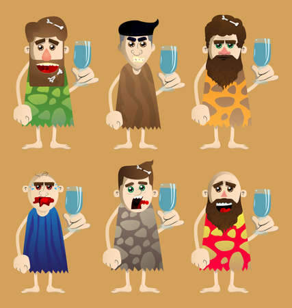 Cartoon caveman with a glass of water. Vector illustration of a man from the stone age. 免版税图像 - 161730647
