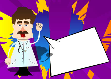 Funny cartoon doctor making power to the people fist gesture. Vector illustration.