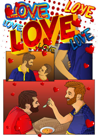 Concept comic book page depicting lgbtq love. Gay couple spending free time at home. Cartoon style vector illustration of same sex lovers. 免版税图像 - 161730656