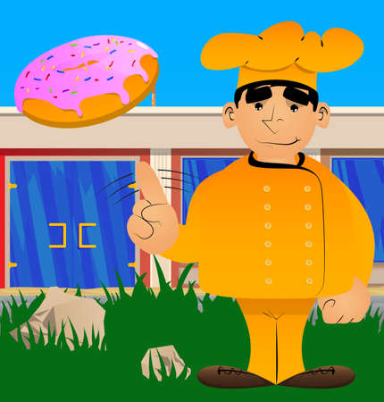 Fat male cartoon chef in uniform saying no with his finger. Vector illustration.