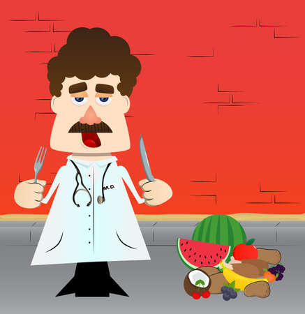 Funny cartoon doctor holding up a knife and fork. Vector illustration.