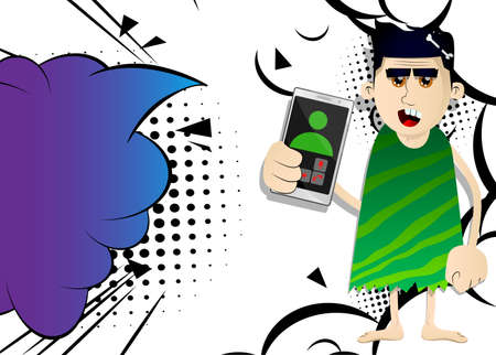 Cartoon man from prehistoric era holding a cell phone in his hand. Vector illustration of a man from the stone age. 免版税图像 - 161730625