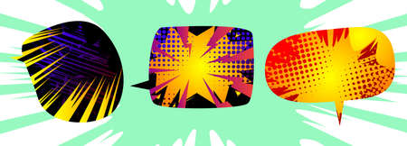Collection of speech bubbles filled with comic book background. Template for social media, icon for sale, store, discount and other advertisements.