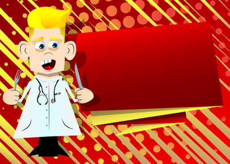 Funny cartoon doctor holding up a knife and fork. Vector illustration. 免版税图像 - 161730629