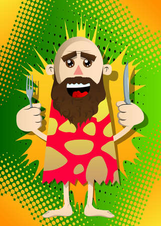 Cartoon prehistoric man holding up a knife and fork. Vector illustration of a man from the stone age. 免版税图像 - 161730631