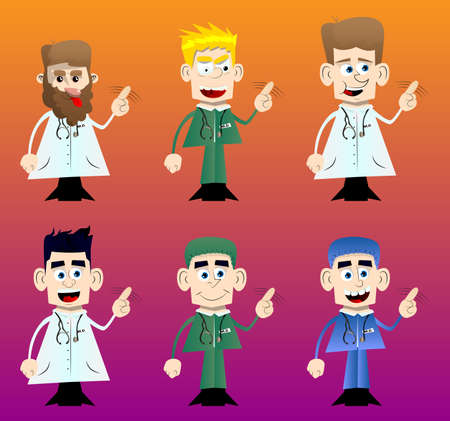 Funny cartoon doctor saying no with his finger. Vector illustration.