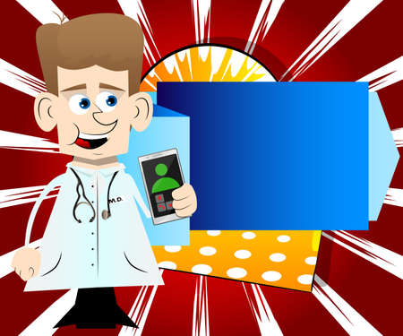 Funny cartoon doctor holding a cell phone in his hand. Vector illustration. 免版税图像 - 161730635