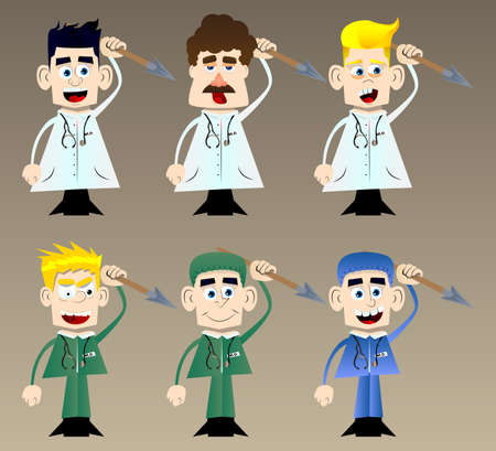 Funny cartoon doctor holding spear in his hand. Vector illustration. Health care worker as a warrior. 免版税图像 - 161730636
