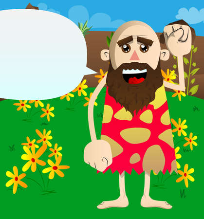 Cartoon prehistoric man making power to the people fist gesture. Vector illustration of a man from the stone age. 免版税图像 - 161730613