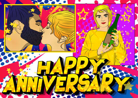 Concept comic book Anniversary gift card. Close-up of kissing young romantic couple, and woman holding champagne. Cartoon style illustration with vibrant colors. 免版税图像 - 161730616