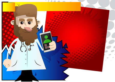 Funny cartoon doctor holding a cell phone in his hand. Vector illustration. 免版税图像 - 161730619