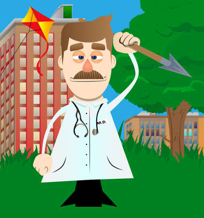 Funny cartoon doctor holding spear in his hand. Vector illustration. Health care worker as a warrior. 免版税图像 - 161730538