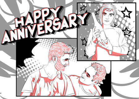 Concept comic book Anniversary gift card for same sex couples. Two man smiling at each other, and woman holding champagne. Cartoon style illustration. 矢量图像