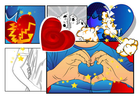Love concept with hands doing heart symbol shape and heart shapes. In another box hand embracing a hip. Comic book style illustration with vibrant colors.