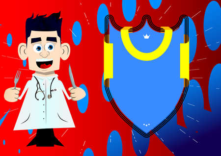 Funny cartoon doctor holding up a knife and fork. Vector illustration. 免版税图像 - 161730569