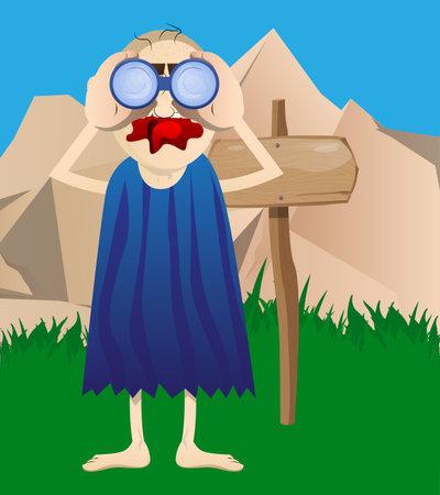 Cartoon prehistoric man looking through binoculars. Vector illustration of a man from the stone age.