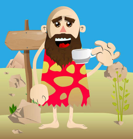Cartoon prehistoric man drinking coffee. Vector illustration of a man from the stone age.